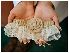 A burlap garter is a very nice detail at this rustic wedding