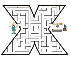 Letter x shaped maze from PrintActivities.com