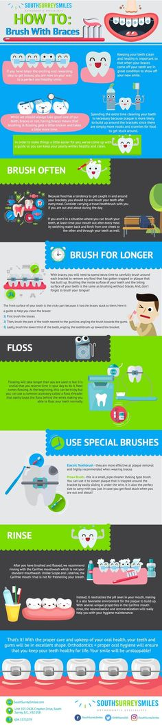 How To #Brush With #Braces - Do you fancy an infographic?  There are a lot of them online, but if you want your own please visit http://linfografico.com/en/prices/  Online girano molte infografiche, se ne vuoi realizzare una tutta tua visita http://www.linfografico.com/prezzi/