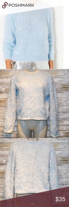 Topshop light blue cropped fuzzy sweater sz 6 Topshop light blue fuzzy cropped sweater  sz 6  PREVIOUSLY WORN Great Condition Topshop Sweaters