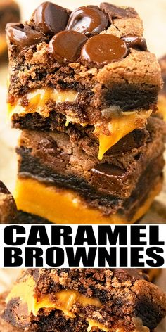 SALTED CARAMEL BROWNIES RECIPE- Quick and easy chocolate caramel brownies with brownie mix/ box, homemade with simple ingredients. Rich, fudgy and ooey gooey and loaded with chocolate and caramel. Brownie Desserts, Easy Desserts, Delicious Desserts, Rice Desserts, Brownie Ideas, Cookie Brownie Recipes, Homemade Brownie Recipes, Recipes With Brownie Mix, Quick Chocolate Desserts