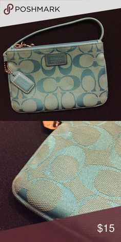 Coach wristlet Turquoise coach wristlet with with leather strap Coach Bags Clutches & Wristlets