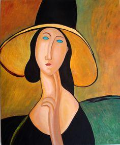 Olio su tela 50x60 - Amedeo Modigliani, ritratto alla compagna Madame Jeanne Hèbuterne (noix de coco)