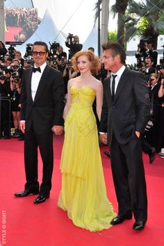 "Brad Pitt, Sean Penn & Jessica Chastain at the gala premiere of their new movie ""The Tree of Life"" in competition at the 64th Festival de Cannes. May 16, 2011 Cannes, France."