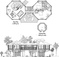 , 2 Bedrooms, 2 Baths, Classic Collection by Topsider Homes Log Cabin Floor Plans, Craftsman Floor Plans, Small Floor Plans, House Floor Plans, Round House Plans, Small House Plans, Module Architecture, Hexagon House, Contemporary House Plans