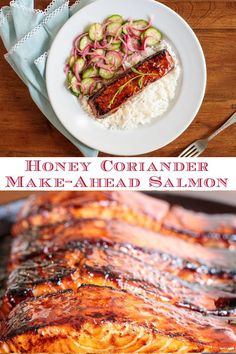 This Asian-inspired, Honey Coriander Make-Ahead Salmon is perfect for everyday-easy meals but also makes a fabulous entree for a dinner party. #bestsalmonrecipe #makeaheadmeals #easydinnerideas Lunch Recipes, Easy Dinner Recipes, Seafood Recipes, Beef Recipes, Breakfast Recipes, Chicken Recipes, Healthy Recipes, Make Ahead Meals, Easy Meals