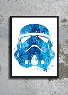Blue Stormtrooper helmet Star Wars Watercolor Art Print Stormtrooper poster Children's wall art Yoda Star wars poster boy room birthday gift