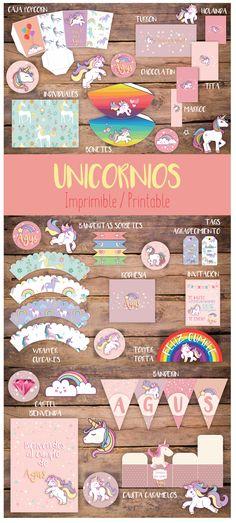 Candy Bar Kit Imprimible Unicornios. Printable Unicorn Kit. Candy Bar