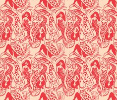Mermaid red fabric by union_studio on Spoonflower - custom fabric