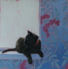 Cat in Cranberry Collar, painting by artist Diane Hoeptner