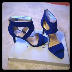 Bright blue sexy heeled sandals 3in heeled sandal. Very sexy and look great. Only worn once. Just don't fit my more casual lifestyle. Make me an offer! :) Jessica Simpson Shoes Sandals