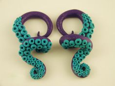 Pretty Wrapped Octopus Tentacle Gauges  6G to 0G by HipsterOctopus, $35.00