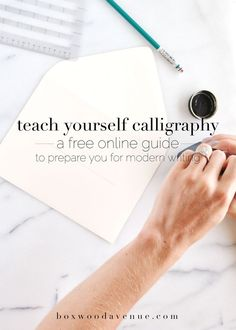 Teach yourself calligraphy online, with this free workshop from BoxwoodAvenue.com!