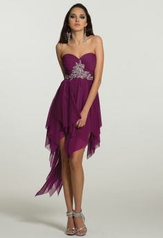 Homecoming Dresses - Strapless Hanky Hem Dress with Beading from Camille La Vie and Group USA