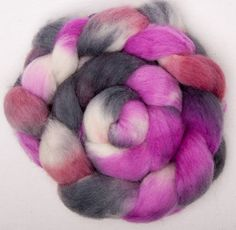 Cheviot 100g hand painted British wool tops roving fibre fiber felt Pink Paradise by YummyYarnsUK on Etsy