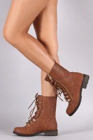 Zipper Detail Vegan Leather Combat Boots | UrbanOG