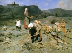 Nikolai Kasatkin, Poor collect coal in a quarry, 1890 ca.