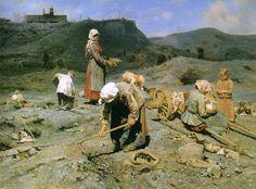 Nikolai Kasatkin, Poor collect coal in a quarry, 1890 ca.