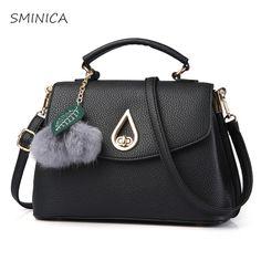 women handbags 2017 luxury designer High Quality pu leather shoulder bag women Top-Handle Bags lady Fashion Lock Plush ball