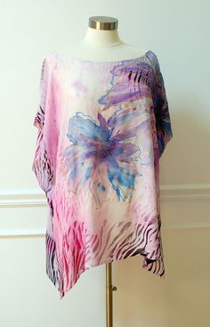 Vacation Silk-Chiffon Tunic.Hand painted.Butterfly sleeves.Exclusive Kaftan.Maternity Top(for stylish motherhood)).One of a kind Art-Batik