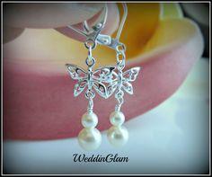 Flower girl earrings. Silver butterfly crystal pearl earrings. Bridesmaid jewelry. simlple ivory pearl. junior bridesmaid earrings