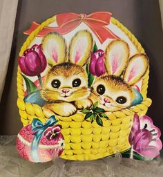 Vintage Die Cut Easter Bunny Cardboard Wall Decoration, Easter Basket by GroovyDoozyVintage on Etsy