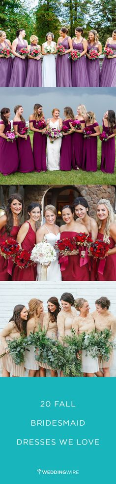 Having a fall wedding? Here are 20 fall bridesmaid dresses we LOVE! See more fall bridesmaid dress ideas on @weddingwire {Bartlett Pair Photography; Brett Loves Elle Photography; Jen Philips Photography; Studio127 Photography}