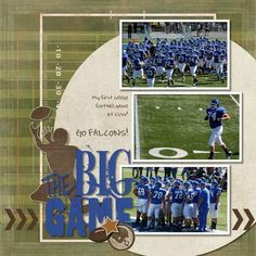 The Big Game Football Digital Scrapbook Page Layout Idea