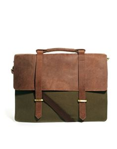 Image 1 of ASOS Canvas And Leather Satchel