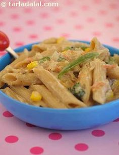 Use of whole-wheat pasta and lots of vegetables is the specialty of this fibre rich dish.  The milk and the cheese in the sauce enriches it with the much-needed calcium for growing kids.