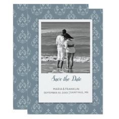 Dusty Blue Damask Save the Date Card - wedding invitations diy cyo special idea personalize card