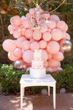 Tree tiered polka dot ribbon cake in and balloon installation + DIY floral chandelier // Girl 2nd Birthday, Ballerina Birthday, 4th Birthday Parties, Birthday Bash, Ballerina Cakes, Balloon Tree, Balloon Garland, Balloons, Candy Party