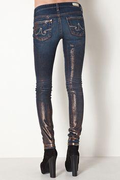 Leggings Super Skinny Fit Jeans in Foil by AG Jeans for $218.00