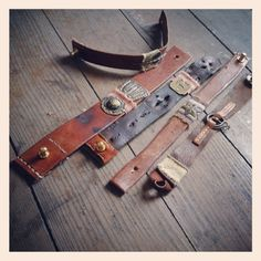 scrappy strappy...  Look for scrap leather from belts and purses at thrift stores.   Cute idea for homemade bracelets.