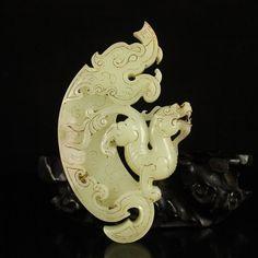 Chinese Han Dynasty Hetian Jade Fortune Beast Pendant 中國漢代 和田玉財富獸掛件