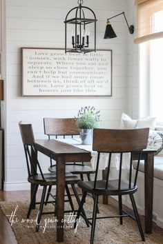 Farmhouse style table and chairs in this breakfast nook |  The Wood Grain Cottage