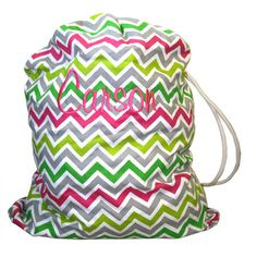 Pink and Lime Chevron Laundry Bag