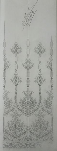 Hand Embroidery Patterns Free, Border Embroidery Designs, Embroidery Flowers Pattern, Embroidery Motifs, Shabby Chic Embroidery, Simple Embroidery, Vintage Embroidery, India India, Fire
