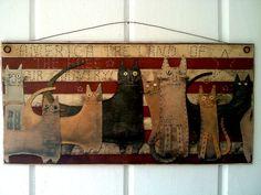 Americana Folk Art Cats Picture Plaque Sign by ZellnerPrimitives