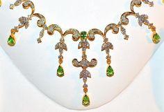 Natural 11cts VS G Diamond Tsavorite Green Garnet 18K Gold Necklace Earrings SET | eBay