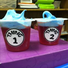 Dr Seuss Snack: Thing 1 and Thing 2 red Jello and blue cool whip! There is no link as the photo was uploaded by user but these would be easy to make - just individual jello cups and use blue food coloring to tint your cool whip! Dr. Seuss, Dr Seuss Week, Dr Seuss Snacks, Dr Seuss Activities, Fun Activities, Preschool Activities, Jello With Cool Whip, Dr Seuss Crafts, Dr Seuss Birthday