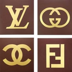 Louis Vuitton, Gucci, Fendi and Chanel Paintings (Set of Four, each or Fashion Logo Inspired Art, Brown and Gold - Hochzeitsgeschenk Gucci Nails, Mode Poster, Chanel Decor, 2 Logo, Chanel Logo, Louis Vuitton, Fendi, Stencils, Graffiti