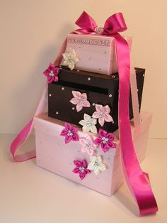Please read my shop announcement !!!! bwithu.etsy.com  This listing is included: 3 tier card box (any color) Ribbon and bow ( any color ) 9 small flowers(any color) w... #handmade #decoration #wedding