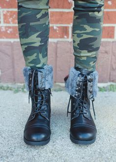 Black Foldover Combat Boot W/Red back Zip