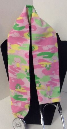 Pink Camo Frog MD RN EMT LPN Stethoscope Cover Medical Accessory #Handmade