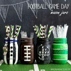 Foot ball game décor mason jars.