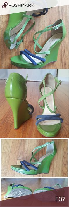 """Kate Spade Wedges Green/Dark Blue straps 4.5"""" heel Complete that cute spring/summer dress with these adorable Kate Spade heels.  Suede leather straps with patent platform heel and multi strap. Buckle closure. one strap on the right wedge is thinner because the inner fiber strap (between the leather layer) came loose and was removed during repair. kate spade Shoes Wedges"""