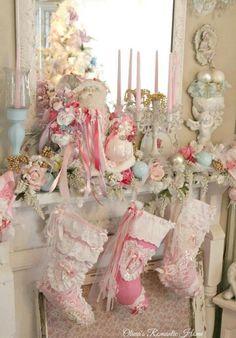 A Beautiful Pastel Christmas Mantel!!! Bebe'!!! Love the Great Christmas Stockings!!!