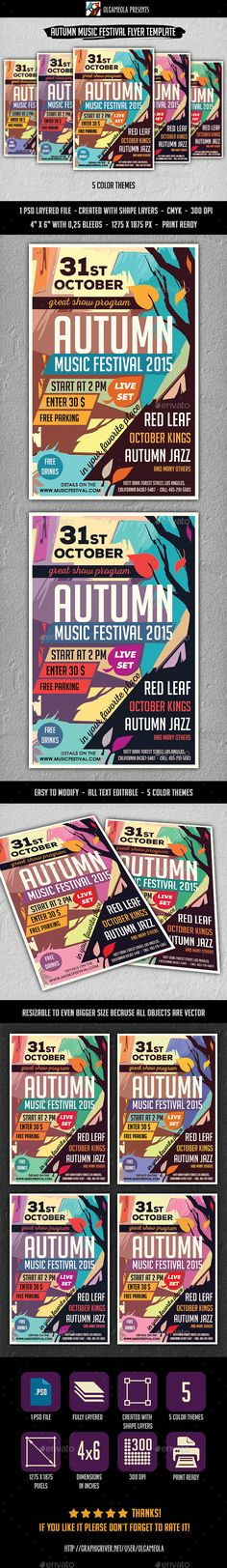Autumn Music Festival Flyer Template PSD #design Download: http://graphicriver.net/item/autumn-music-festival-flyer-template/13089287?ref=ksioks