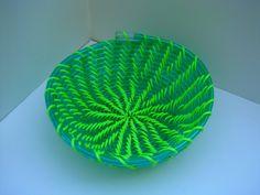 bright green basket by sarahracha on Etsy Green Basket, Sister Crafts, Recycled Crafts, Bright Green, Vinyls, Repurposing, Reuse, Fun Stuff, Macrame